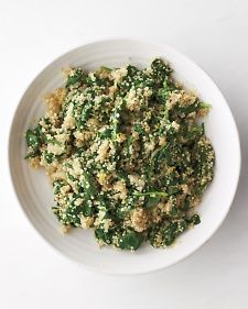 Quinoa-and-Spinach Pilaf - easy and delicious. The only change I made to the recipe was to include the juice of half a lemon in addition to the zest.  I also chopped the baby spinach before adding.