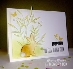 Hi everyone! Hope this has been a great week so far! I thought I would share a get well card this time around. This little bunny just looks like he cares! I cut a piece of white card stock 5-1/4