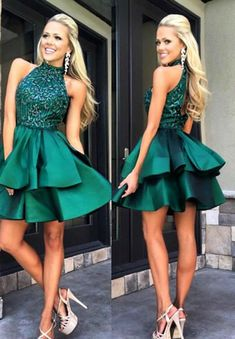 A-line prom dresses, beaded prom dresses, green prom dresses, sexy homecoming dresses, cocktail dresses, short prom dresses, backless homecoming dresses, party gowns#SIMIBridal #homecomingdresses