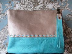 Silver and aqua clutch / Color block leather clutch / by Percibal, $80.00