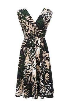 Khaki Palm Print Wrap Dress