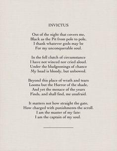 """Invictus"" by William Ernest Henley"