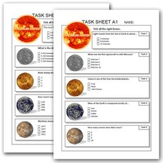 SOLAR SYSTEM task sheets ( EXTENDED ) List Of Resources, Teacher Resources, Solar System Worksheets, Life Skills Activities, 6th Grade Science, Teacher Lesson Plans, Science Ideas, Teaching Science, Earth Science