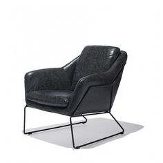 The Metl Lounge Chair fulfills all the needs of a comfortable fireside armchair without compromising style or design. The iron frame leaves the piece feeling open and airy while at the same time cushioned and sturdy. Matte black leather on an iron frame.
