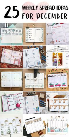 Cute Bullet Journal Weekly Spread Method Inspo - Bullet Journal Stamp Bullet Journal Weekly Spread Layout, Shooting Star Wish, Happy December, Bubble Letters, Draw On Photos, Holly Leaf, Minimal Design, Page Design, Bujo