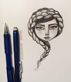 #sandidevenny #sandidoodle #illustration #hair #braid #girl #face #pencil #creativelycurated #blogged #doodle