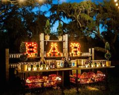 Outdoor DIY wedding bar set up Diy Wedding, Wedding Events, Wedding Reception, Dream Wedding, Weddings, Wedding Ideas, Circus Wedding, Open Bar Wedding, Wedding List