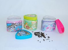 FREE SHIPPING Glass jars with lids Jars of spices Decoupage Cookie jar Glass box Kitchen handmade decorated Container for storing art spices