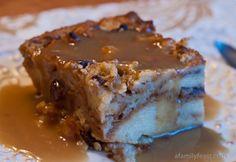 Cinnamon Roll Bread Pudding with Bourbon Sauce.