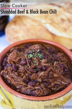This Shredded Beef and Black Bean Chili recipe will win your chili cook-off competition this year! Hands-down. It's packed with amazing flavor & is SO easy!