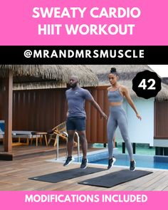 Sweaty Cardio Workout - with beginner modifications - Pin, Share and Try this 10 minute Cardio HIIT Workout with LOW IMPACT modifications is live on our - Hiit Workout Videos, Full Body Hiit Workout, Cardio Workout At Home, Gym Workouts, At Home Workouts, Cardio Hiit, Hiit Workouts For Beginners, Kettlebell Circuit, Basic Workout