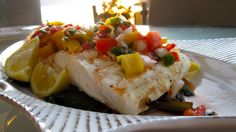 Grilled halibut with peach salsa. Summer in Pender Harbour.