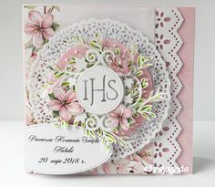CraftsArt: W komplecie Komunia Św. dla dziewczynki... Shabby Chic Cards, Scrapbook Cards, Scrapbooking, Cricut Cards, Unique Cards, Heartfelt Creations, Vintage Crafts, Card Tags, Flower Cards