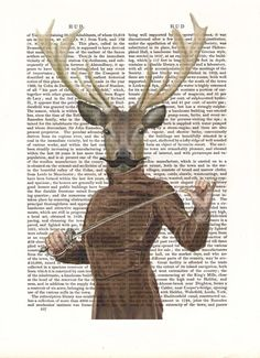 Fencing Deer Print Portrait Acrylic Art Original Painting Print Mixed Media Deer Picture Animal Painting wall art wall decor Wall hanging, $12.00