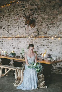 Nordic Winter Wedding Inspiration Shoot   Claire Pettibone Bridal Gowns   Flowers From Campbell's Flowers   Images From Ellie Grace Photography   http://www.rockmywedding.co.uk/nordic-styled-wedding-shoot/