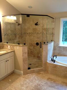Bathroom with Corner Tub New Frameless Corner Glass Shower Dual Shower Heads Garden Tub Bathroom Renovations, Home Remodeling, Bathroom Ideas, Bathroom Remodelling, Bathroom Organization, Budget Bathroom, Bathroom Storage, Bathroom Inspiration, Bathroom Colors