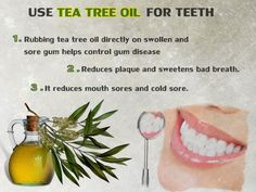 Tea-tree-oil-for-teeth. Mouth Sores, Cold Sore, Bad Breath, Tea Tree Oil, Natural Oils, Diy Beauty, Health, Hair, Image