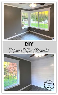Come view our tutorial on how we updated our plain and dated home office with our DIY home office remodel and renovation. Beautiful home office ideas and décor. New Pergo flooring, paint, shiplap, baseboards, windows, trim, and crown molding! We turned drab into fab with our farmhouse-inspired design! Create an inviting home office space.