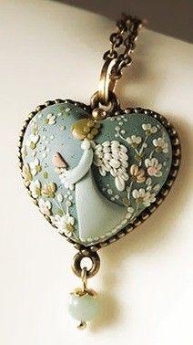 The Guardian Angel handmade polymer clay pendant by ~EvaThissen on evathissen.deviantart.com