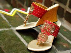 Red Orange Zardoshi Work Wedges for Indian Bride.
