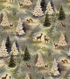 Holiday Inspirations Fabric-Vintage Forest Scenic