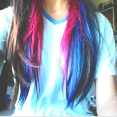 Brown hair with hot pink and dark blue colored hair underneath