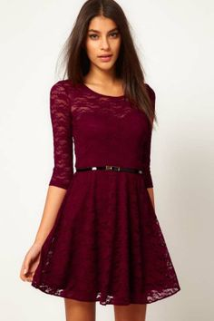 Round collar lace dress with belt