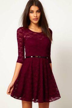 Sexy round collar lace dress