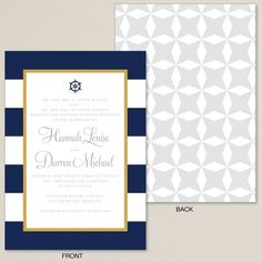 The look and feel of our Nautical Stripes with Ship Wheel invite is elegant and classic, from the navy stripes to gold border, you will love it!