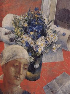 Kuzma Petrov-Vodkin: Still-Life with Woman's Head. 1921. State Russian Museum, St. Petersburg. Russia.