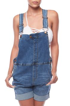GENx Womens Casual Summer Suspender Overall Denim Rolled Up Shorts Summer Shorts Outfits, Shorts Outfits Women, Casual Outfits, Overalls Outfit, Overall Shorts, Denim Shorts, Pants For Women, Women's Pants, Street Style