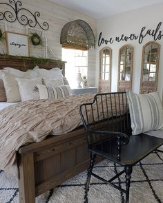Simply Farmhouse Master Bedroom Design Ideas You're Dreaming of 28 Farmhouse Master Bedroom, Home Bedroom, Modern Bedroom, Contemporary Bedroom, Rustic Bedrooms, Bedroom Wardrobe, Cozy Master Bedroom Ideas, Girls Bedroom, White Rustic Bedroom