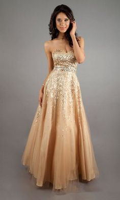 Sean Couture Strapless Gold Sequin Gown | Prom girl, Girls and ...