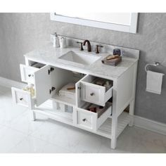 Virtu USA Winterfell White Double Vanity with Marble Vanity Top White and Mirror offers a revealing hospitality towel rack for additional storage space. White Double Vanity, Double Sink Vanity, White Vanity, Single Bathroom Vanity, Vanity Set, Bathroom Vanity Organization, Bathroom Sink Decor, Kitchen Cabinets In Bathroom, Square Sink