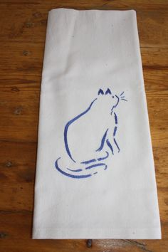 hand embroidered cat on flour sack material - this cat is washable! Flour Sacks, Euro, Cat, Cat Breeds, Cats, Kitty