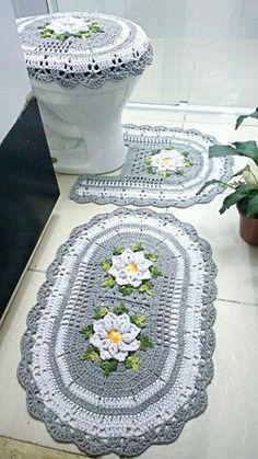 Teppiche - Crochet Home: Rugs - Crochet Applique Patterns Free, Crochet Flower Patterns, Doily Patterns, Crochet Doilies, Crochet Flowers, Crochet Carpet, Crochet Home, Crochet Gifts, Free Crochet