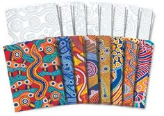 Down Under Papers. Inspired by original Aboriginal design these sheets give projects a touch of the Outback with exquisite hand painted rich designs
