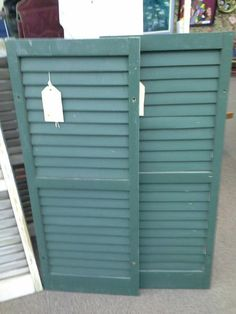 $24.95 each - We currently have in stock two matching wood window shutters. All in good condition. They have been painted a deep green on one side and have chippy white paint on the reverse. These shutters measure 15 inches by 37 inches. They are being sold individually at $24.95each. They can be seen in in booth G 15 at Main Street Antique Mall 7260 East Main St ( E of Power Rd ) Mesa 85207  480 9241122open 7 days 10 till 530  Cash or charge