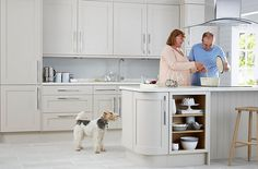 B&Q - Cooke & Lewis Carisbrooke Cashmere. Our Carisbrooke Cashmere kitchen combines the best of timeless craftsmanship with a contemporary finish to bring a traditional Shaker style up to date for modern living in a unique, warm grey shade. Small Kitchen Diner, Long Kitchen, Kitchen Units, Open Plan Kitchen, Kitchen Cupboards, New Kitchen, Kitchen 2016, Kitchen Ranges, Kitchen Backsplash