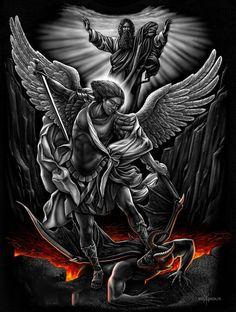 Archangel Saint Michael Slaying the Devil Christian Jesus Canvas Art DGA St. Michael Tattoo, Archangel Michael Tattoo, Jesus Tattoo, Body Art Tattoos, Sleeve Tattoos, Cool Tattoos, Future Tattoos, Tattoos For Guys, Warrior Tattoos