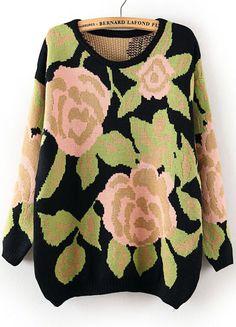 Green Flower Pattern Metallic Yoke Sweater  www.Sheinside.com $33.11