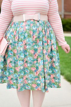 Pastel Floral Dress Styled  by With Wonder and Whimsy Blog | Modest Sidewalk Stroll Dress by Dainty Jewell's