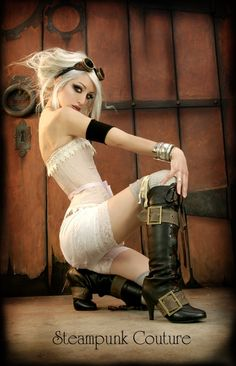 steampunk couture. white lace, buckle lace-up boots & goggles.