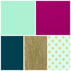 mint, fuschia, dark teal, gold bedroom colors