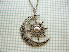 Moon And Sun Necklace Rescent Moon Necklace Sun Jewelry Pendant Necklace BFF…