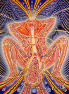 Birth by Alex Grey Ashé Journal: Alex Gray, Eric K. Alex Grey Paintings, Comic Couple, Wicca, Alex Gray Art, Art Visionnaire, Sketch Manga, Birth Art, Pregnancy Art, Psy Art