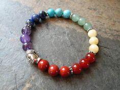 Buddha and 7 Chakra Gemstone Bracelet - Wrist Mala, Metaphysical Jewelry, Reiki Gift - Chakra Balan Gemstone Bracelets, Gemstone Jewelry, Beaded Jewelry, Handmade Jewelry, Chakra, Reiki, Buddha, Bracelet Designs, Butterfly Stretch