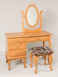 42in Queen Anne Dressing Table|Oak In Fruitwood OCS102|42in W X 17 1