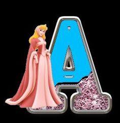 Alfabeto de Princesas Disney con fondo negro.