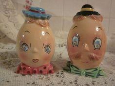 PY Anthropomorphic Vintage Mr. And Mrs. Salt And Pepper Shaker Set- Excellent!